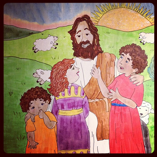 Jesus Loves the Little Children of the World #illustration #Christianity #painting