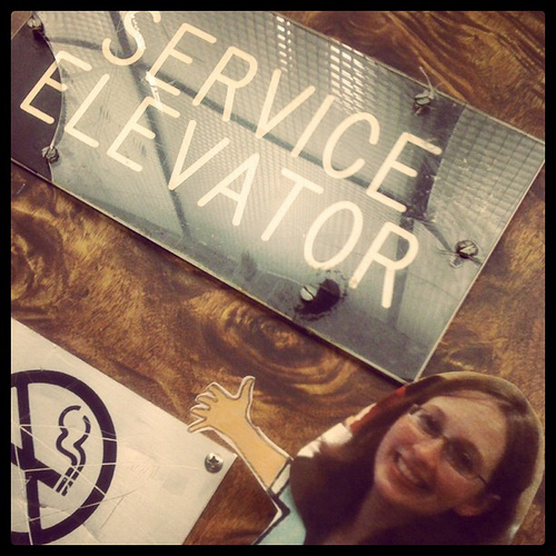 Kelly, being as thin as paper, still took the service elevator, just in case. #relevant11 #incourage #relevator11