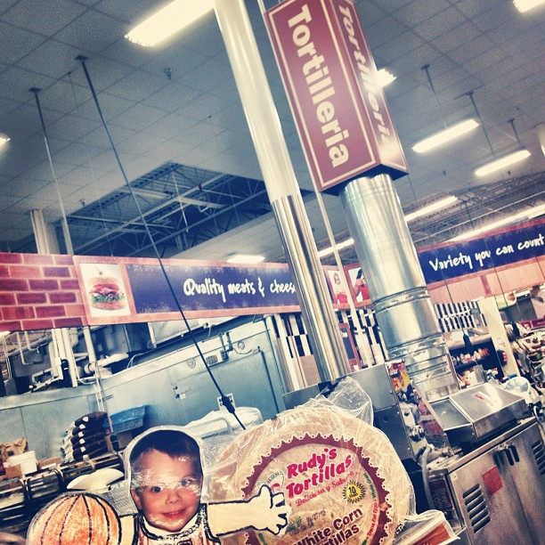 Look mom! They make their own tortillas in the grocery store, fresh! #HEB #austin
