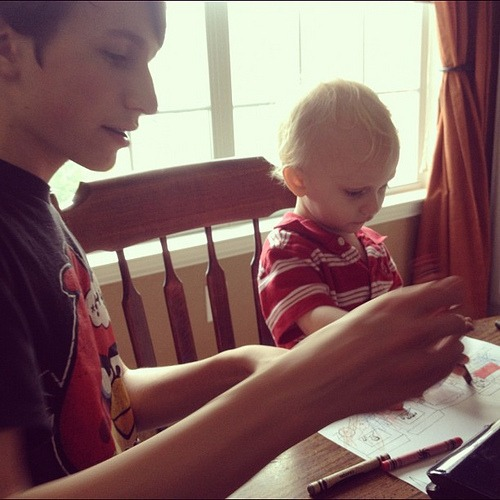 Coloring with big brother. #homefires