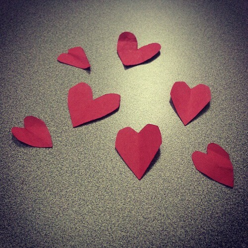Construction Paper Hearts #Valentines #hearts #red #love