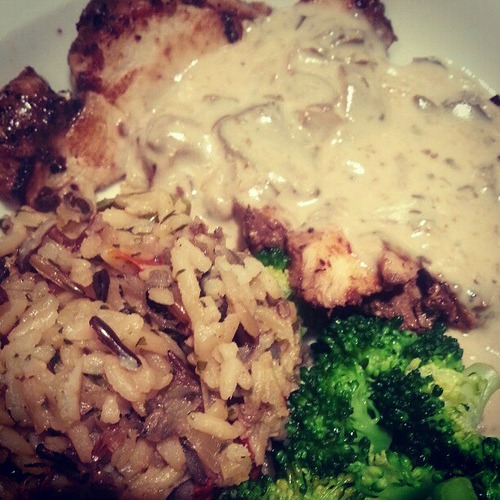 Can't convey with this photo just how yummy dinner at La Madeleine's was tonight. Mushroom cream sauce on chicken? Swoon.