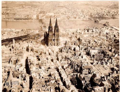 "The Dom Cathedral (Kölner Dom) in Cologne, Germany WWII, May 10th, 1945.  ""Trolley Missions""...Kölner Dom in Köln, Deutschland WWII, 10. Mai 1945. ""Trolley-Missionen"""