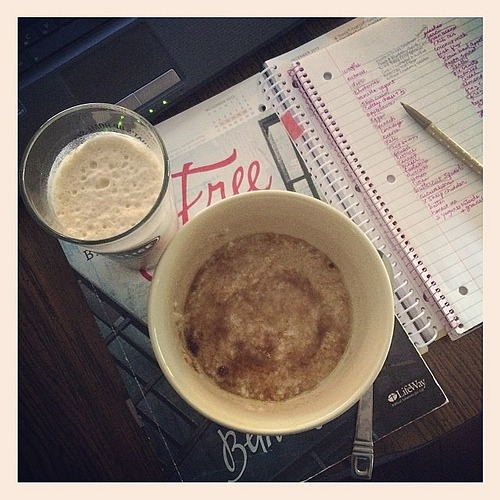 My awesome daughter just made me oatmeal with honey & a home made frappuccino.  I love @wordsymphony !