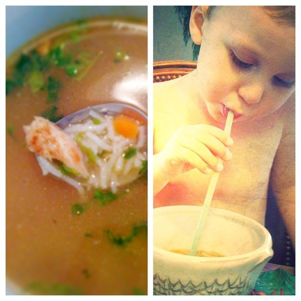 Chicken soup in a straw #incourage #whateverworks