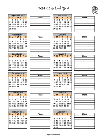 Blank 2014-15 Year at a Glance Schoolyear Calendar