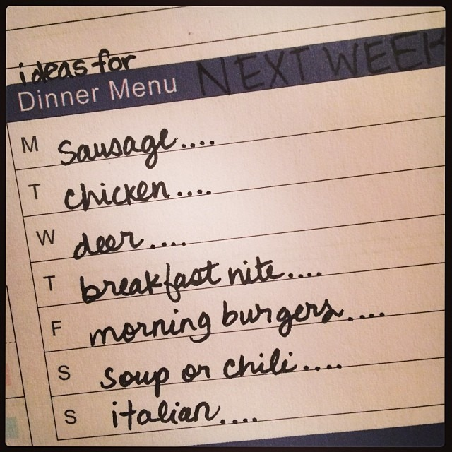 Homeschool Mom Menu