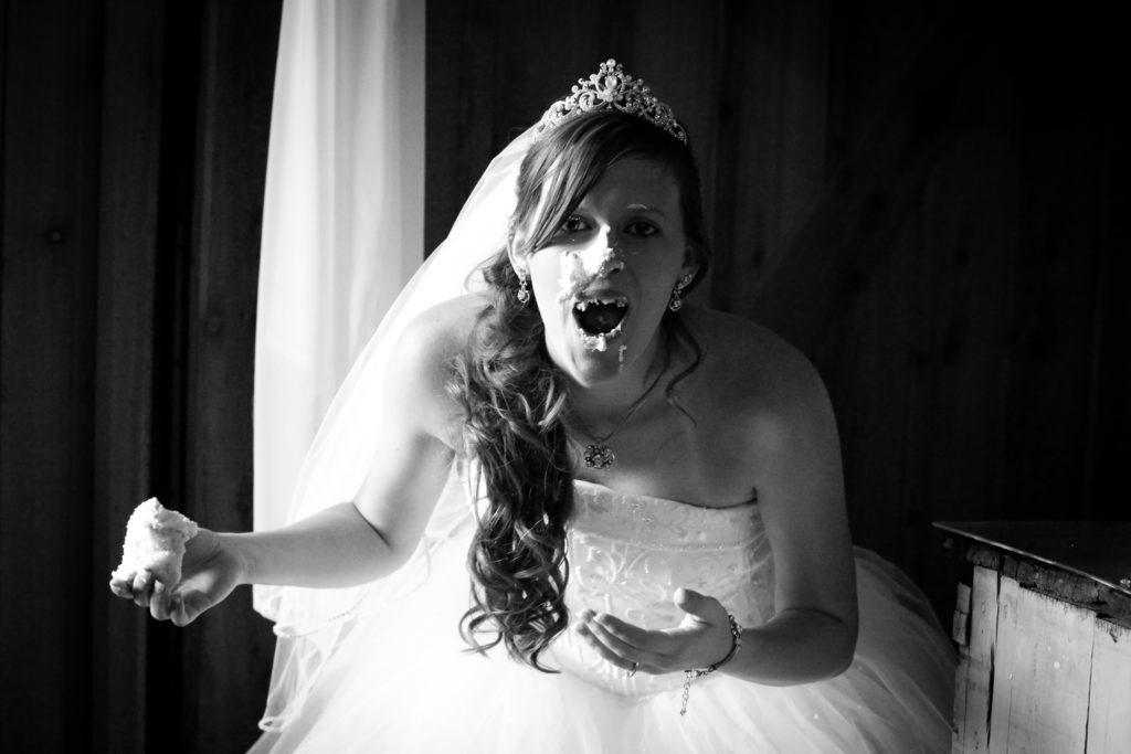 Wedding Cake in the Face via Sprittibee Photography