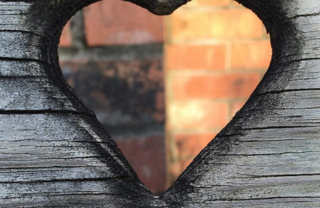 brick and wood heart