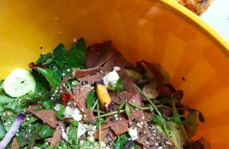 Pizza Salad and a Menu