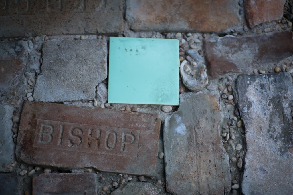 Bishop Brick and 1940s salvaged mint tile in the Greenhouse as Flooring @sprittibee
